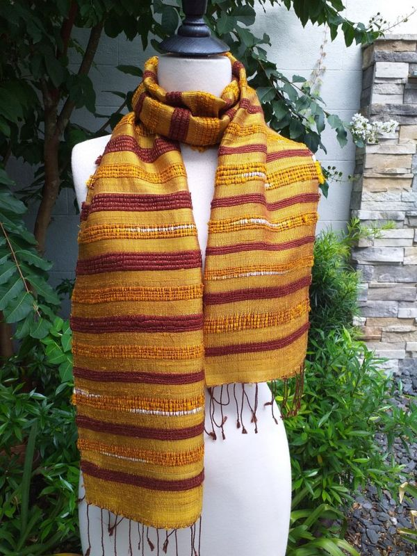 NND013a Thai Silk Hand Woven Colorful Scarf