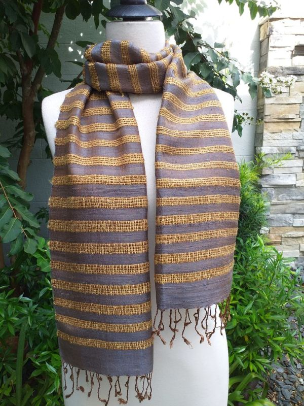NND405a Thai Silk Hand Woven Colorful Scarf