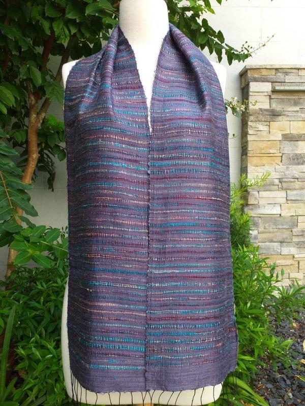 NSC096a Thai Silk Hand Woven Colorful Scarf