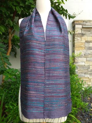 NSC096a Thai Silk Hand Woven Colorful Scarf