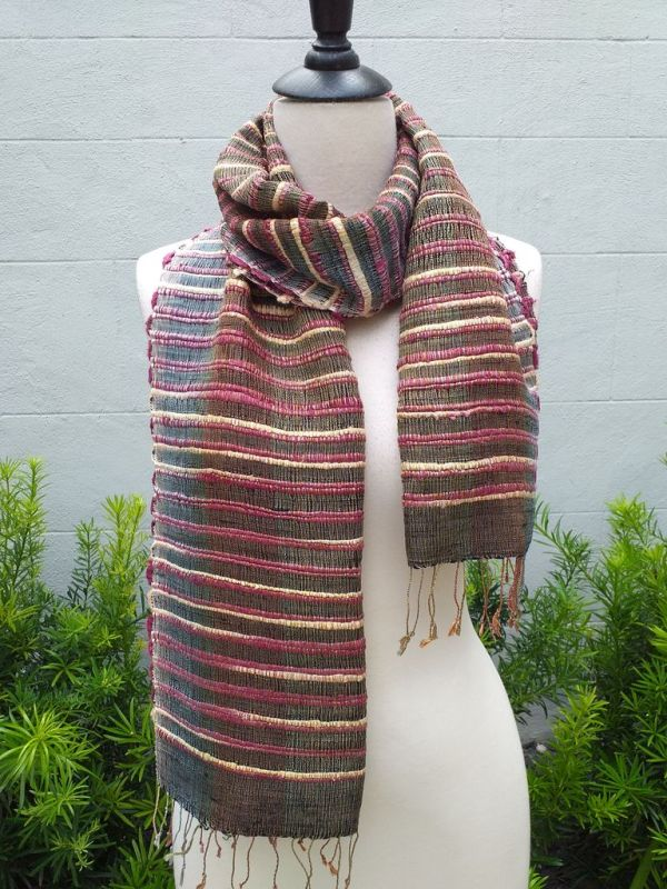 NSD521a Thai Silk Hand Woven Colorful Scarf