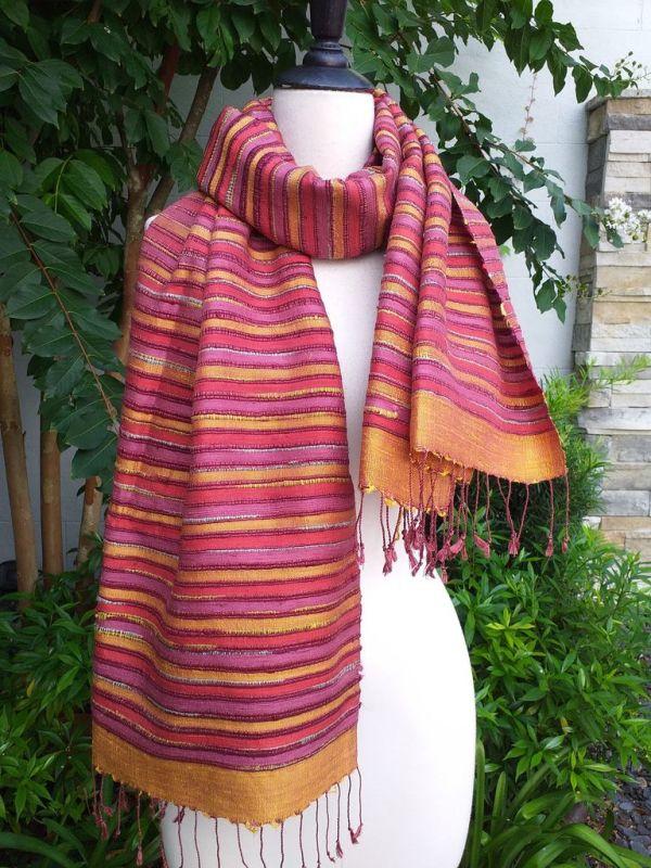 NSS203a Thai Silk Hand Woven Colorful Shawl
