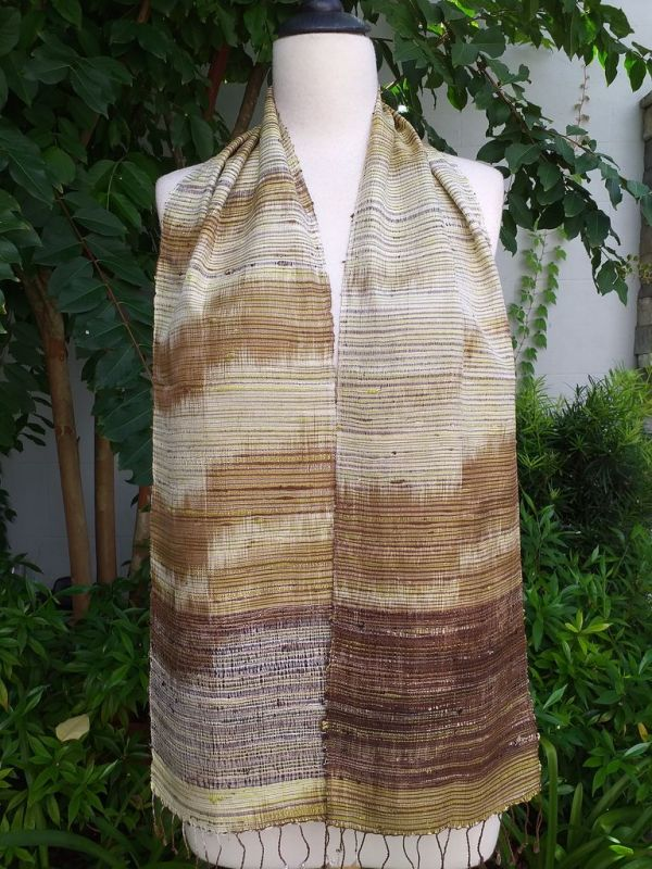 NTC075a Thai Silk Hand Woven Colorful Scarf