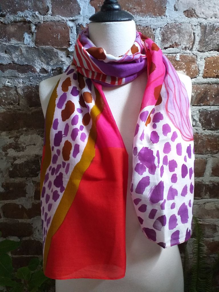 PIC333a 50 Cotton 50 Silk Scarf Hand Painted Unique Light Weight
