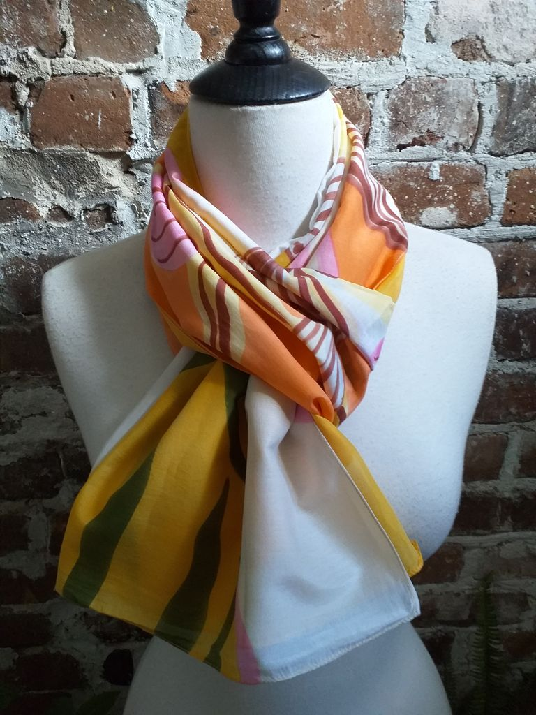 PIC351c 50 Cotton 50 Silk Scarf Hand Painted Unique Light Weight