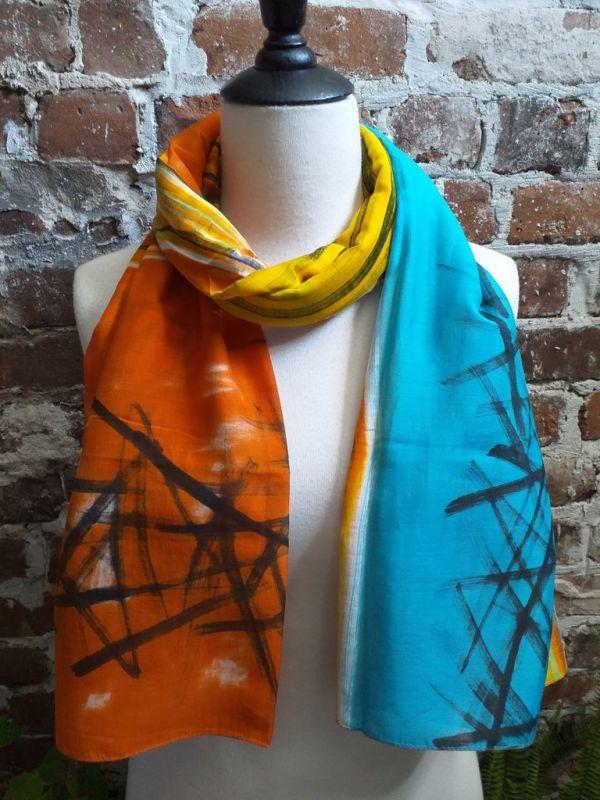 PIC435b 50 Cotton 50 Silk Scarf Hand Painted Unique Original Design