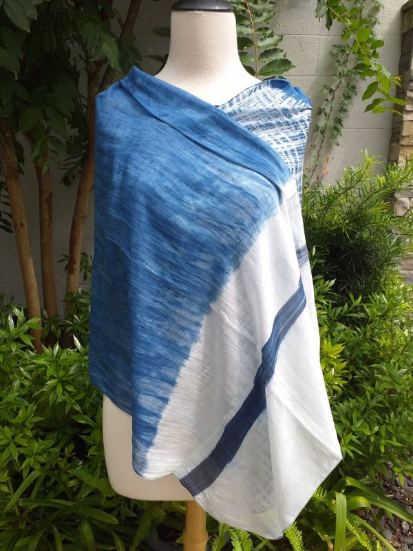 PIM015d 50 Cotton 50 Silk Scarf Hand Painted Original Indigo