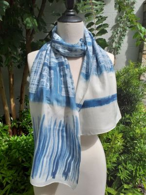 PIM018a 50 Cotton 50 Silk Scarf Hand Painted Original Indigo
