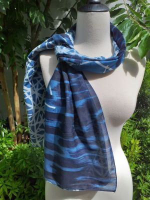 PIM019b 50 Cotton 50 Silk Scarf Hand Painted Original Indigo