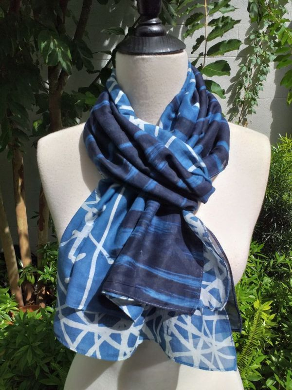 PIM019c 50 Cotton 50 Silk Scarf Hand Painted Original Indigo