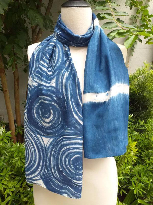 PIM024a 50 Cotton 50 Silk Scarf Hand Painted Unique Blue