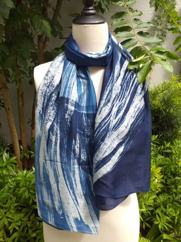 PIM026a 50 Cotton 50 Silk Scarf Hand Painted Unique Blue