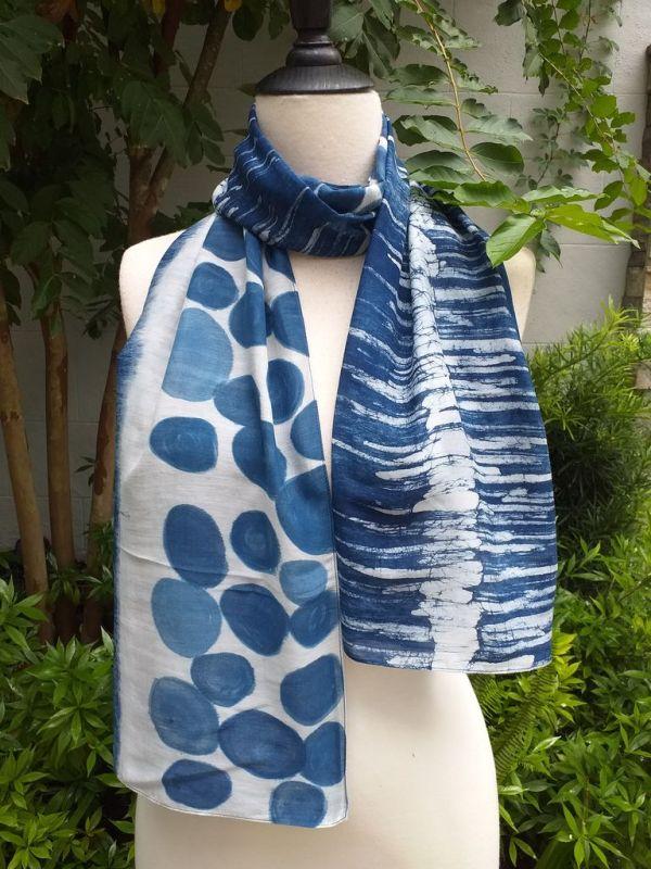 PIM037a 50 Cotton 50 Silk Scarf Hand Painted Unique Blue
