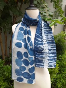 PIM037a 50 Cotton 50 Silk Scarf Hand Painted Unique Blue