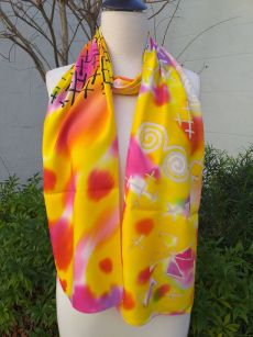 PYC062D 100 Natural Rayon Fiber Hand Painted Scarf