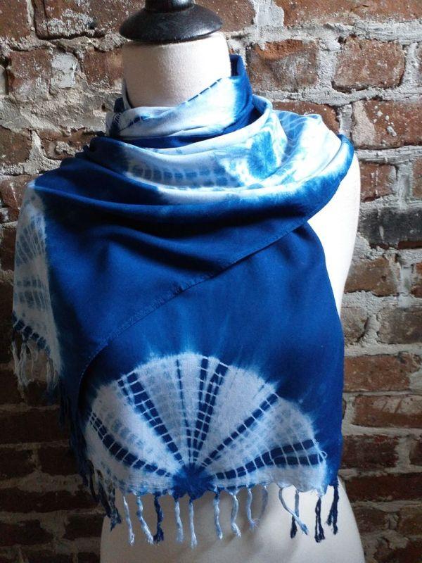 WEF793A Rayon Indigo Tie Dye Fringe Scarves