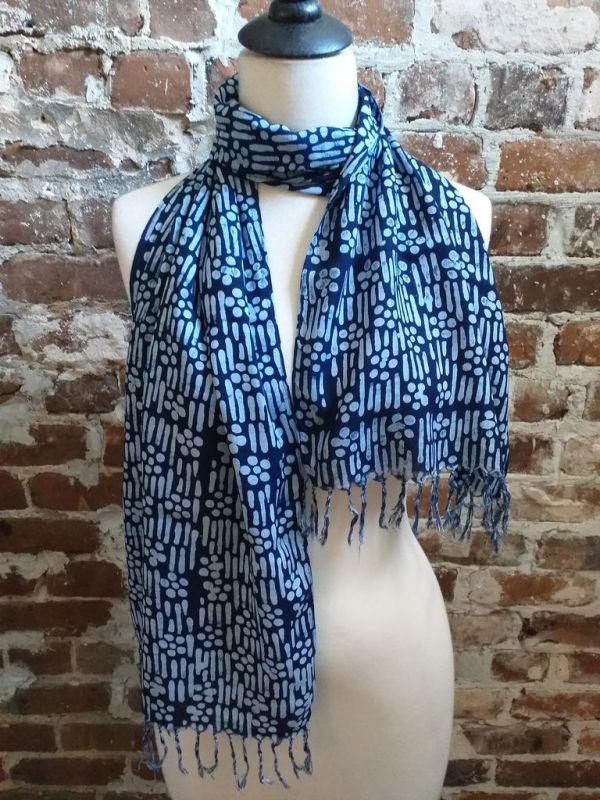 WEF801A Rayon Indigo Tie Dye Fringe Scarf