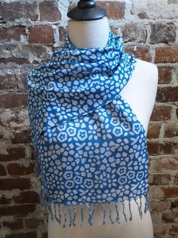 WEF803D Rayon Indigo Tie Dye Fringe Scarf