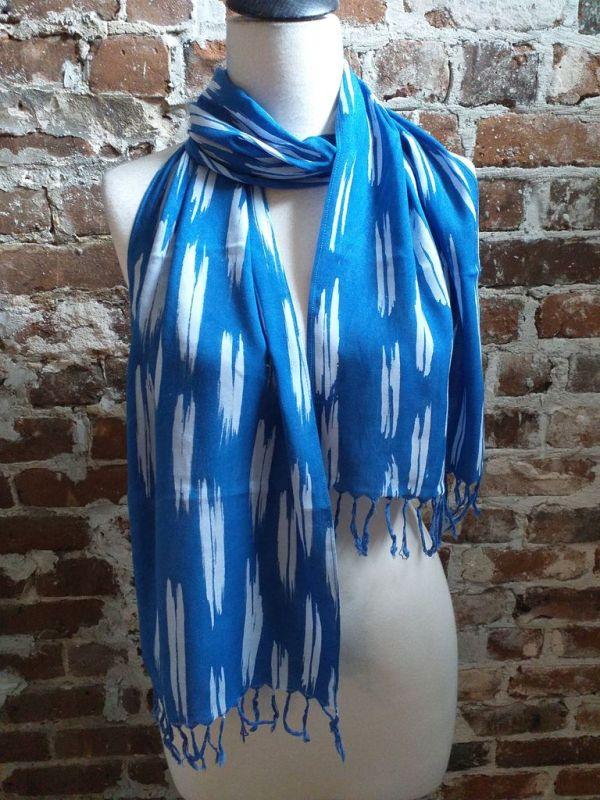 WEF806A Rayon Indigo Tie Dye Fringe Scarf
