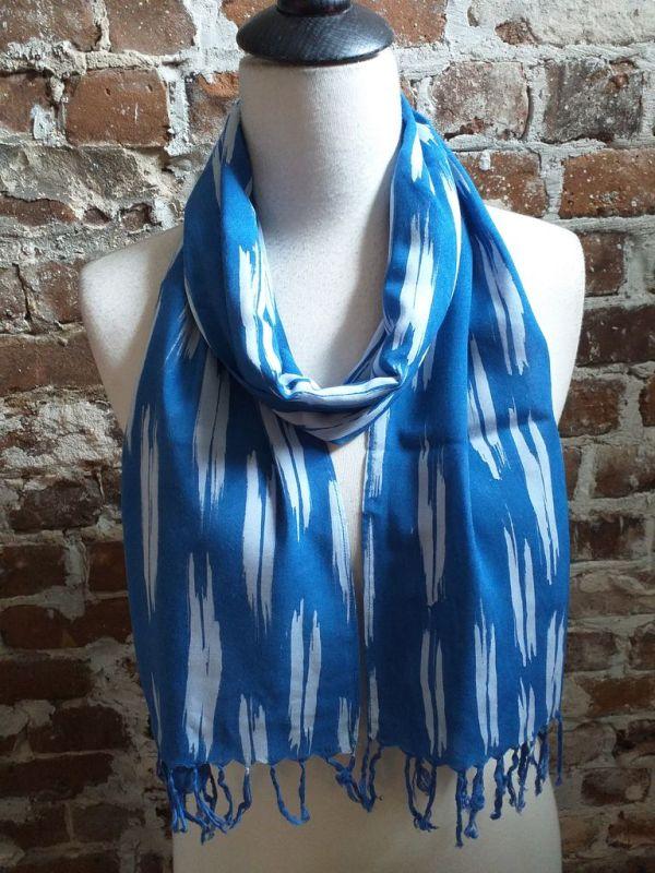 WEF806B Rayon Indigo Tie Dye Fringe Scarf