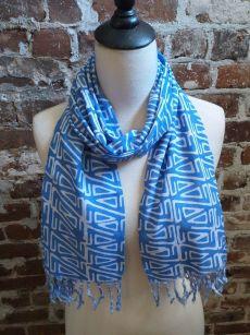 WEF813B Rayon Indigo Tie Dye Fringe Scarf