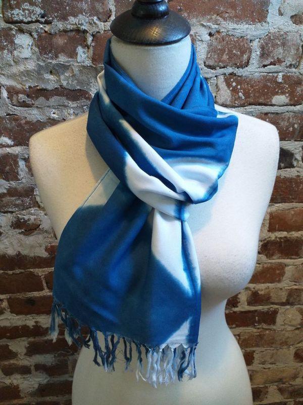 WEF851D Rayon Indigo Tie Dye Fringe Scarf