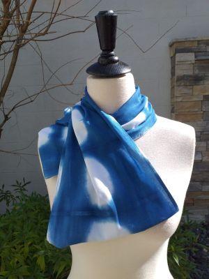 WEI775D Rayon Indigo Tie Dye Infinity Scarf