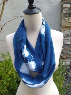 WEI793B Rayon Indigo Tie Dye Infinity Scarf