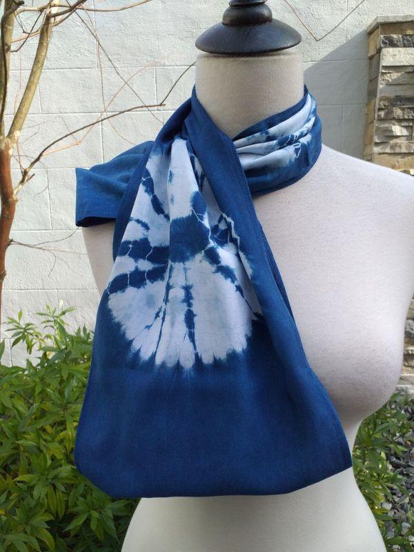 WEI793D Rayon Indigo Tie Dye Infinity Scarf