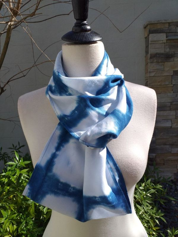 WEI822C Rayon Indigo Tie Dye Infinity Scarf