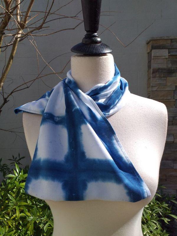 WEI822D Rayon Indigo Tie Dye Infinity Scarf