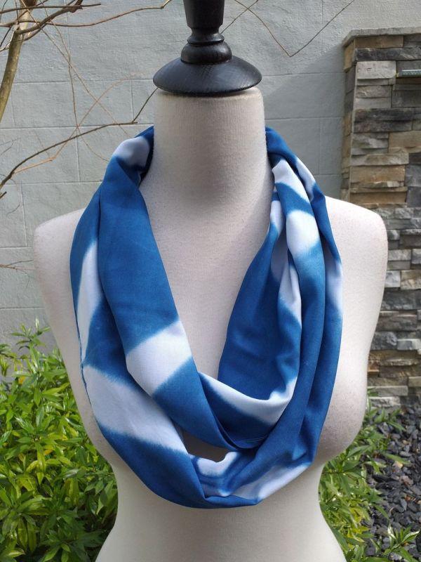 WEI824B Rayon Indigo Tie Dye Infinity Scarf