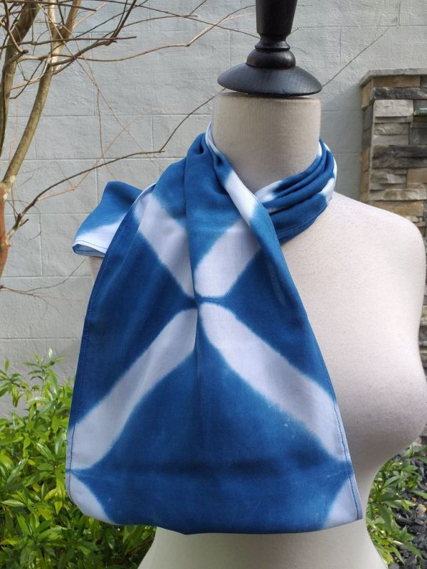 WEI824D Rayon Indigo Tie Dye Infinity Scarf