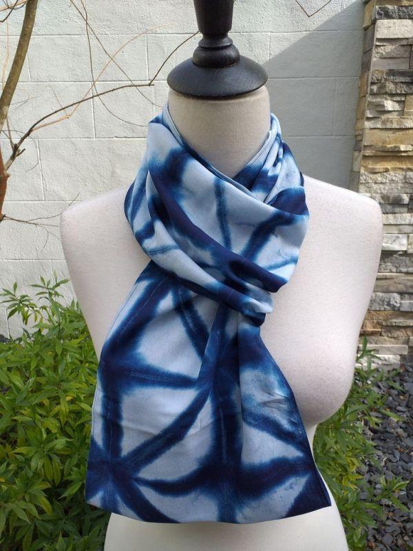 WEI825C Rayon Indigo Tie Dye Infinity Scarf