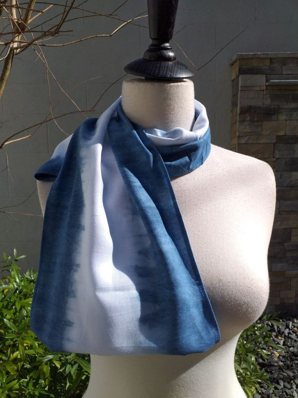 WEI826D Rayon Indigo Tie Dye Infinity Scarf
