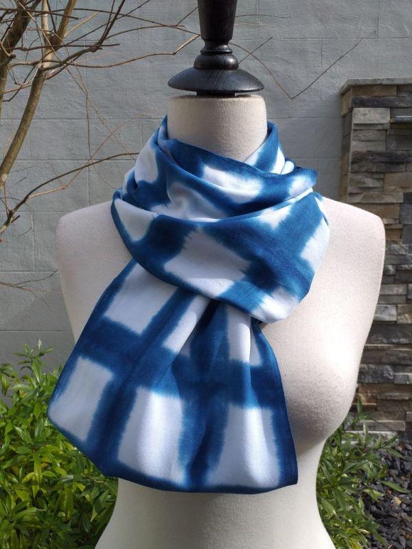 WEI850C Rayon Indigo Tie Dye Infinity Scarf
