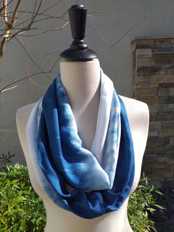 WEI865B Rayon Indigo Tie Dye Infinity Scarf