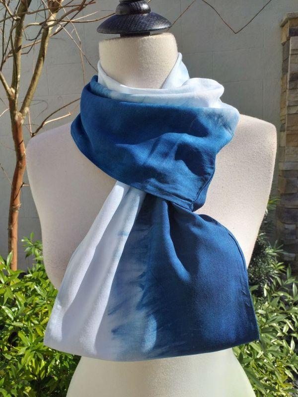 WEI865C Rayon Indigo Tie Dye Infinity Scarf
