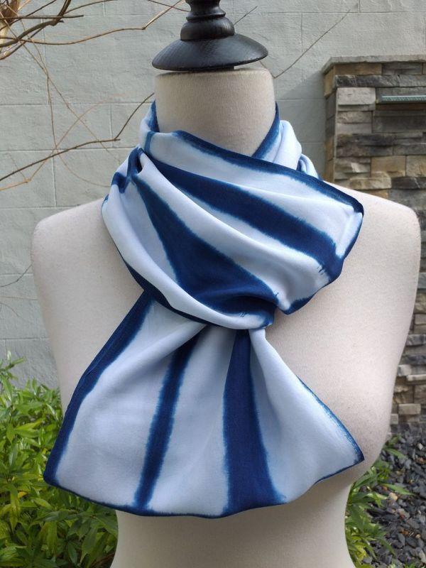 WEI901C Rayon Indigo Tie Dye Infinity Scarf