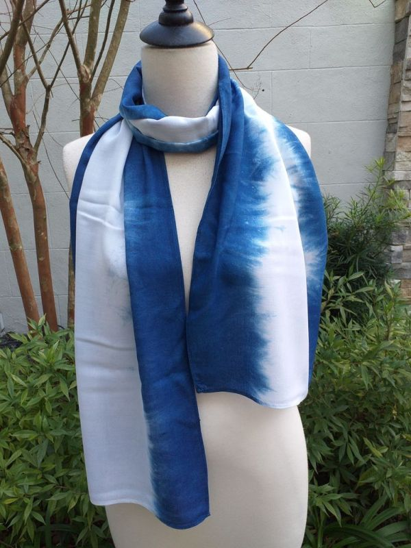 WES826A Rayon Indigo Tie Dye Scarves