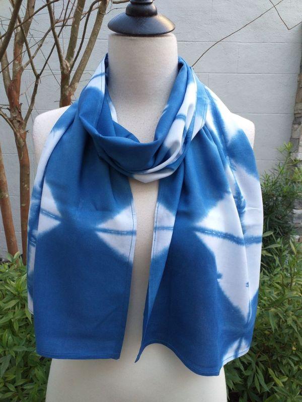 WES830B Rayon Indigo Tie Dye Scarves