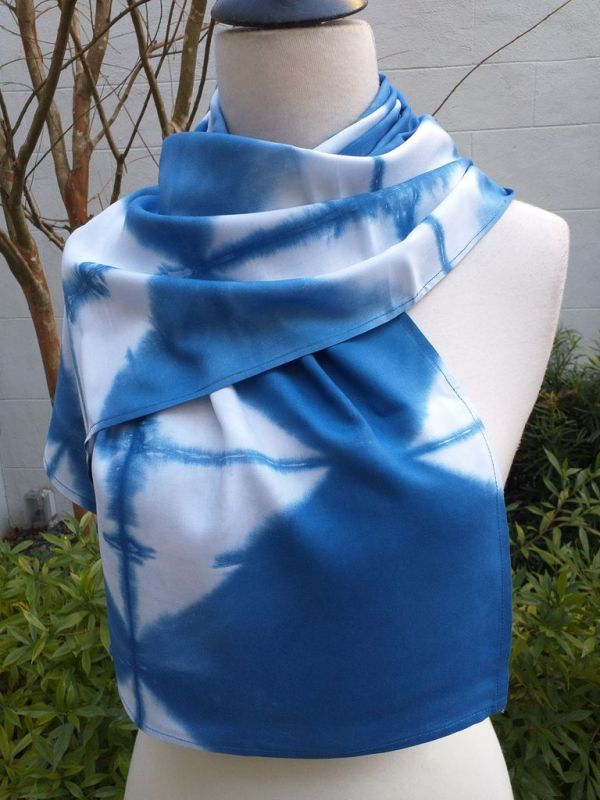 WES830C Rayon Indigo Tie Dye Scarves