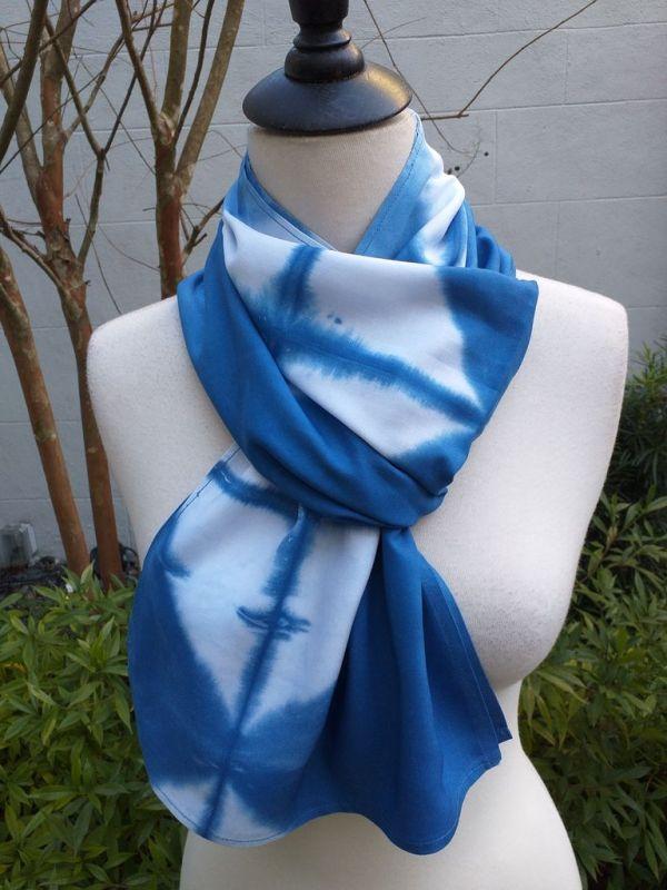 WES830D Rayon Indigo Tie Dye Scarves