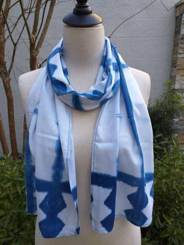 WES906B Rayon Indigo Tie Dye Scarves
