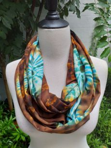 XCI971b Bright Color TieDye Rayon Infinity Scarf