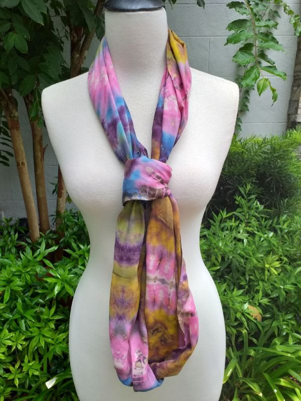XDI603d Bright Color TieDye Rayon Infinity Scarf