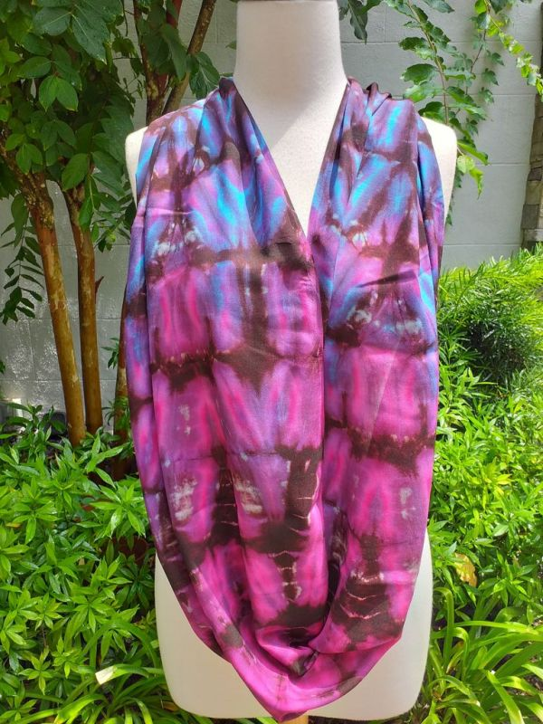 XDI670a Bright Color TieDye Rayon Infinity Scarf