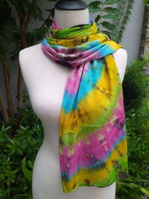 XED602d Bright Color TieDye Rayon Versatile Scarf