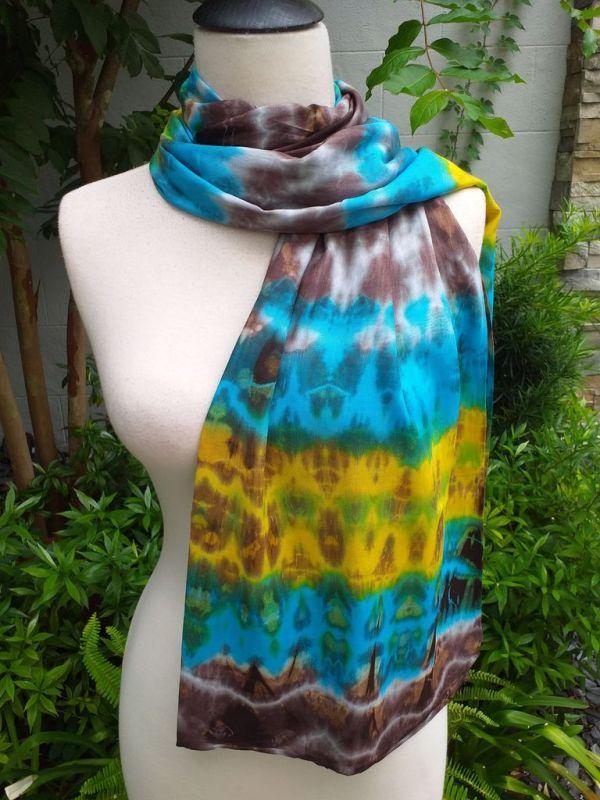 XED673d Bright Color TieDye Rayon Versatile Scarf
