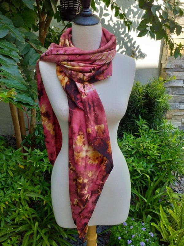 XEQ212A Rayon Scarf Hand Tie Dye Square Bright Color Hemmed Uniquel